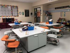 Twenty-first century classroom furnishings, designed to facilitate collaboration and active learning, arrived in several classrooms this month.