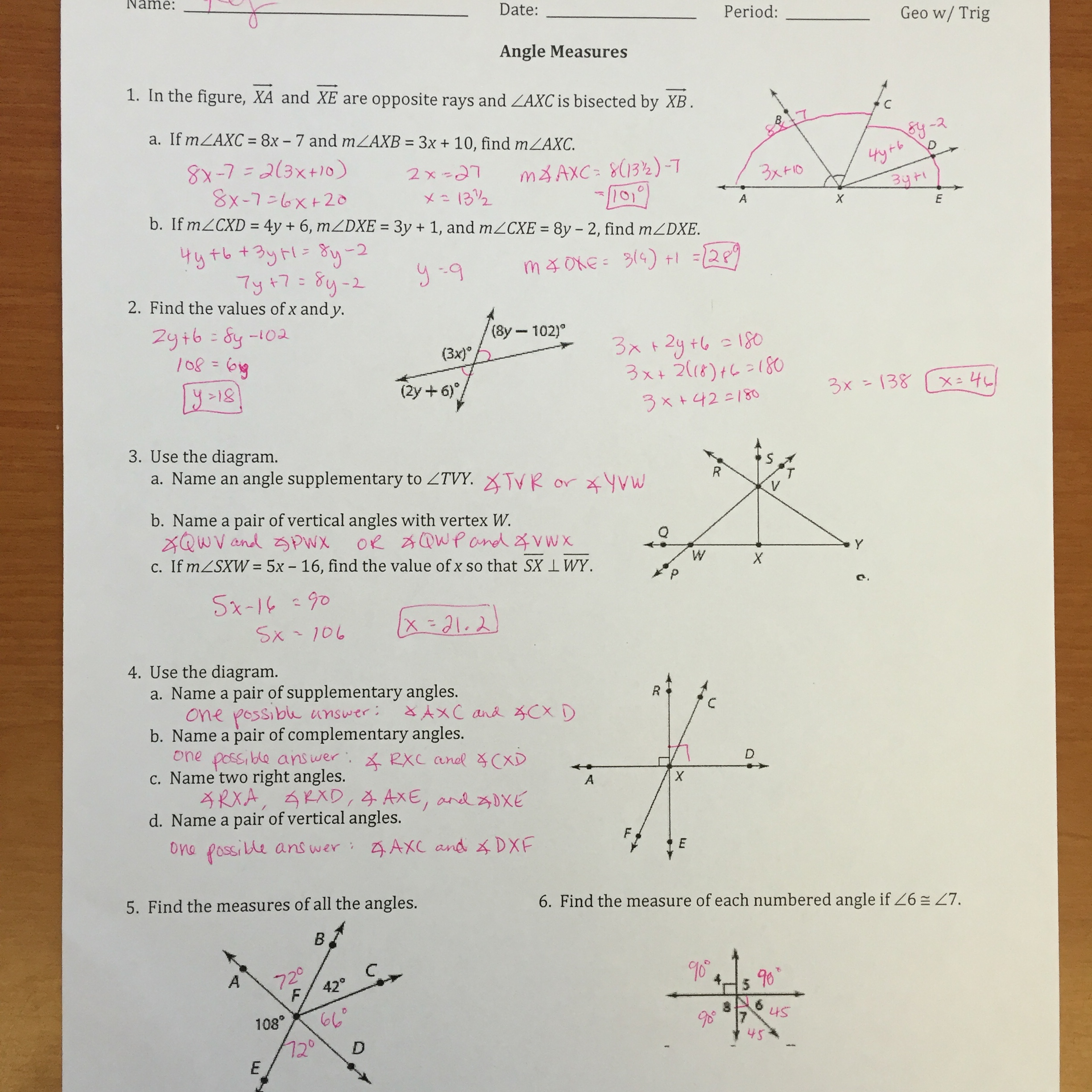 Find the measure of the arc or angle indicated worksheet answers