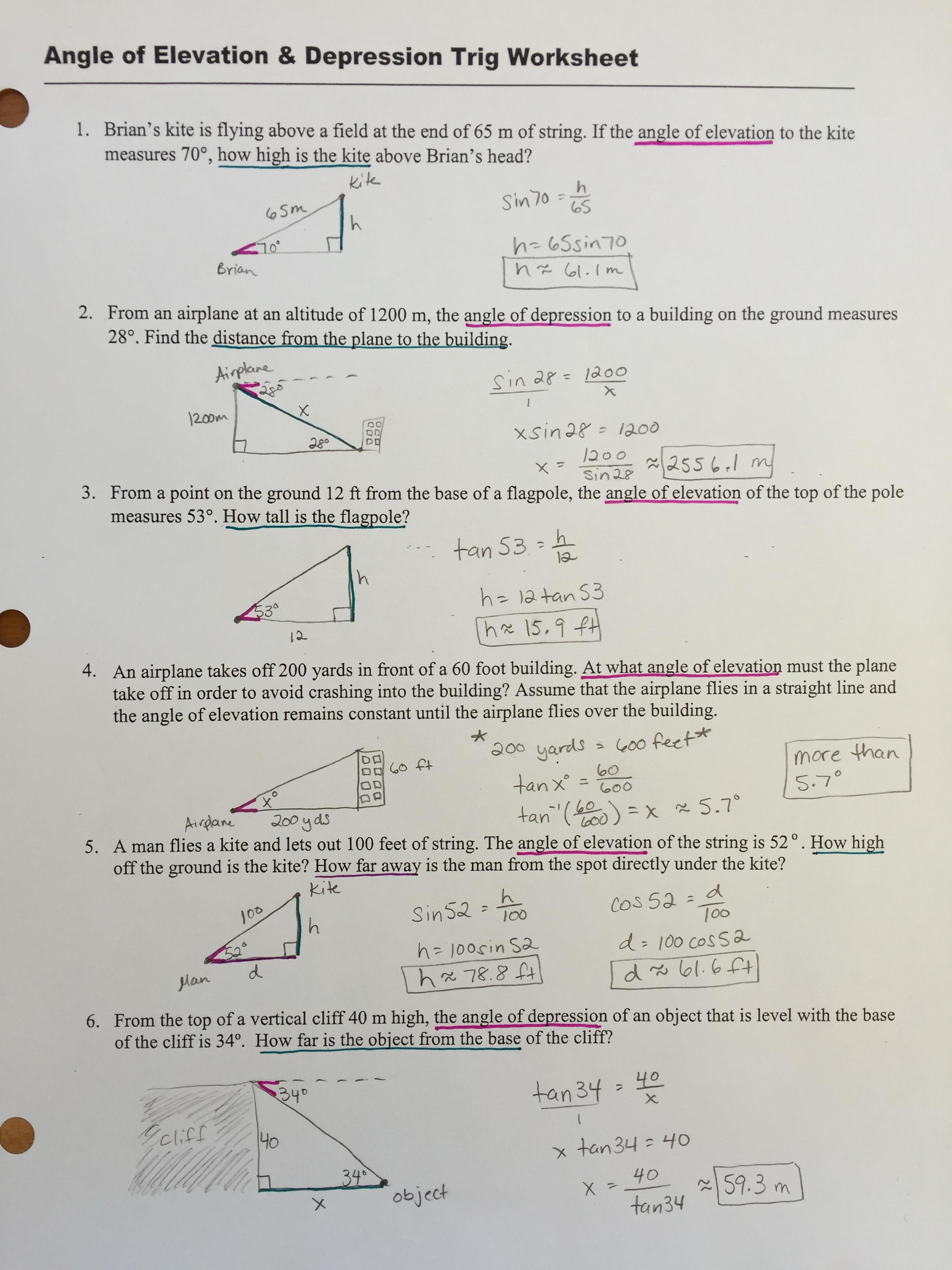 CRUPI ERIN Geometry – Angles of Elevation and Depression Worksheet