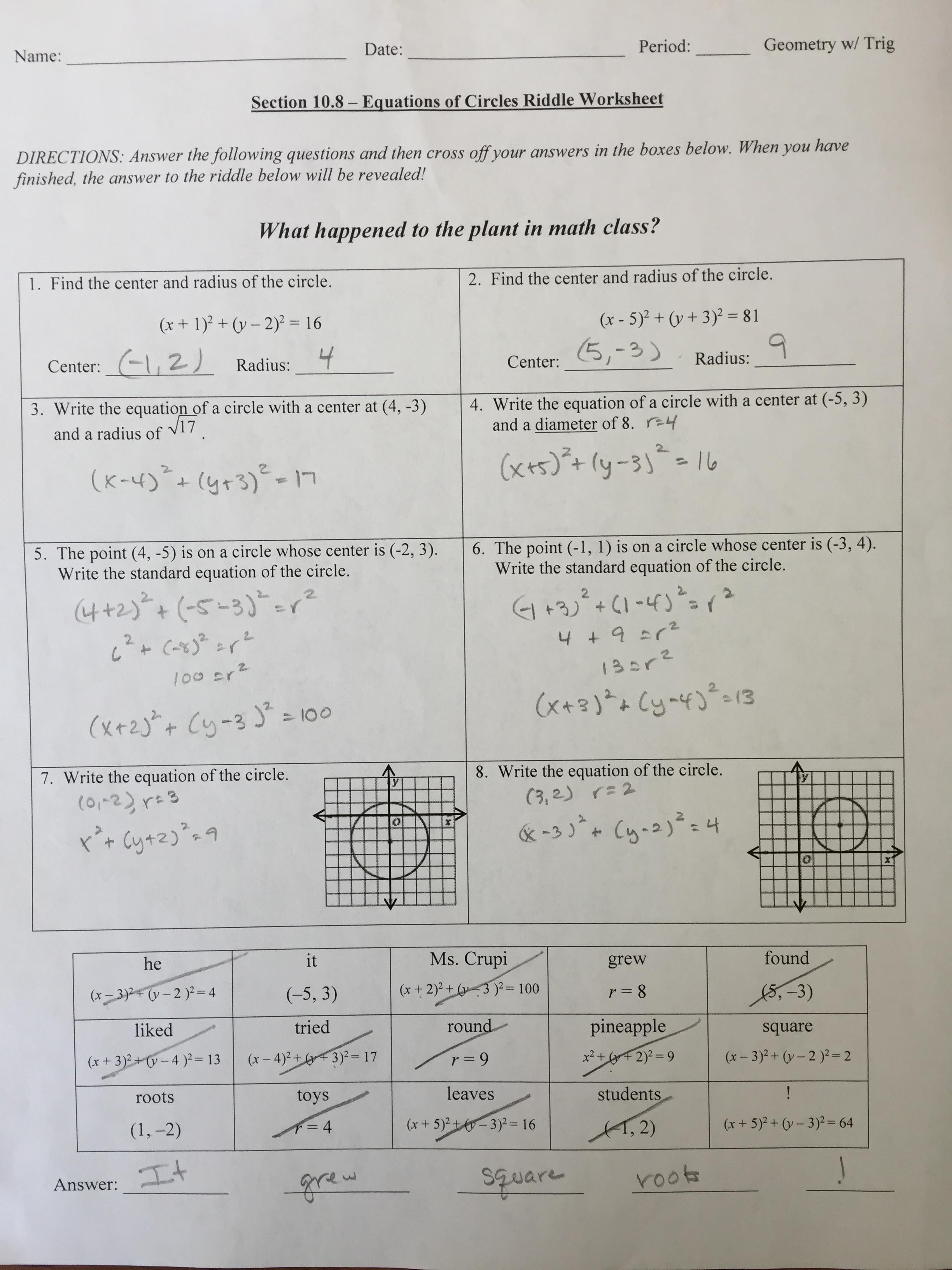 worksheet Writing Equations Of Circles crupi erin geometry extra practice with completing the square to write equations of circles 10 8